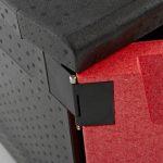 System mocowania drzwiczek w kontenerze z EPS