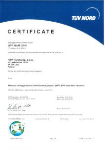 HSV Polska IATF certificate ITAF 16949:2016